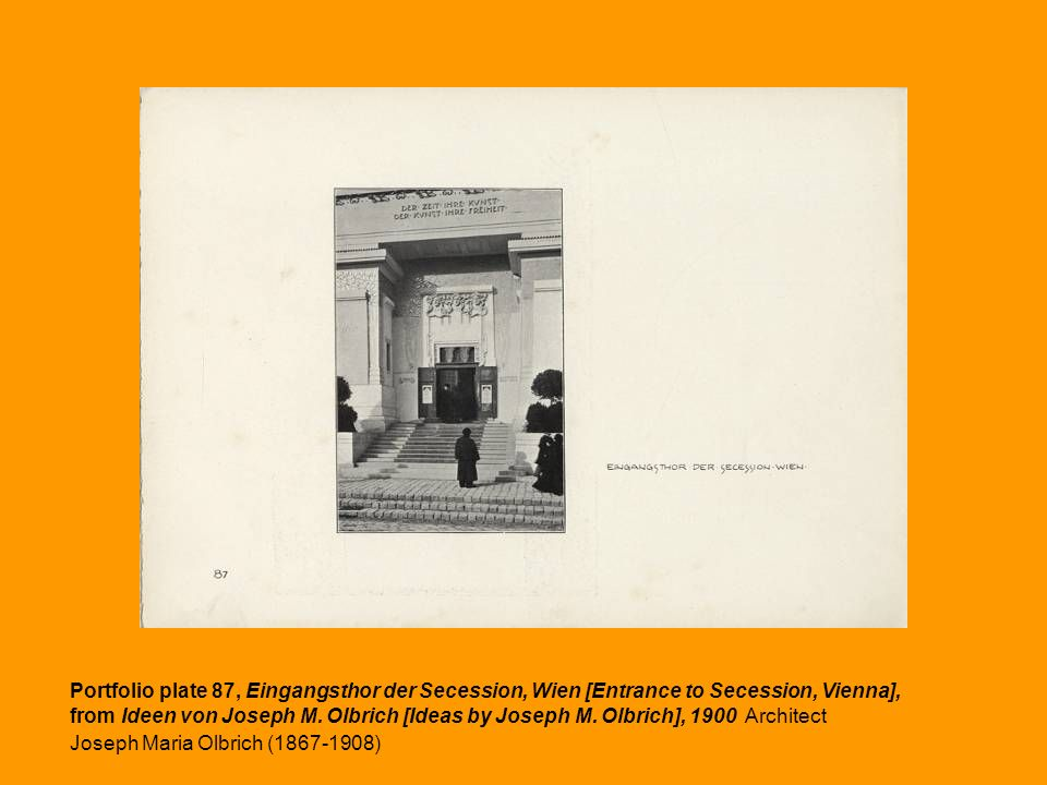 Portfolio plate 87, Eingangsthor der Secession, Wien [Entrance to Secession, Vienna],